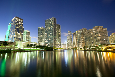 Skyline of downtown and Brickell Key at night, Miami, Florida, USA