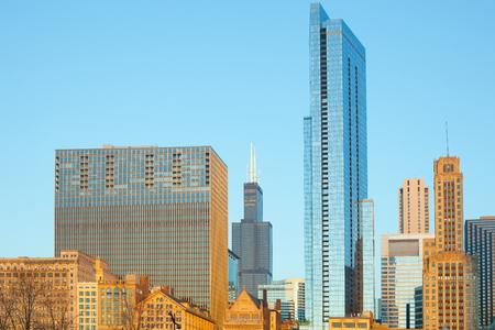 Skyline of Michigan Avenue Magnificen Mile in Chicago, Illinois, USA 스톡 콘텐츠