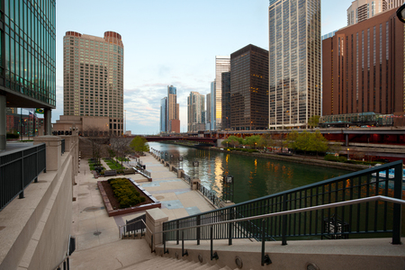 Chicago River mouth and downtown skyline, Chicago, Illinois, USA