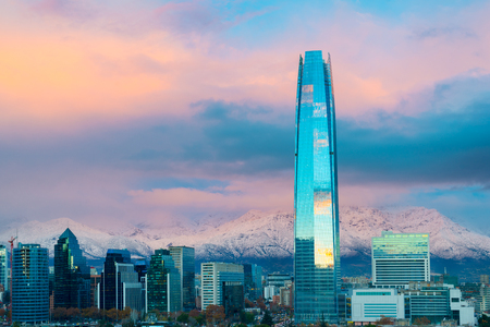 Financial district skyline with Los Andes Mountains in the back, Las Condes, Santiago de Chile Stock Photo