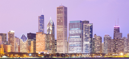 Downtown city skyline, Chicago, Illinois, USA