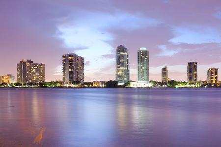 Skyline of buildings at Brickell District, Miami, Florida, USA Stok Fotoğraf