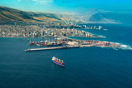 Aerial view of the port city of Iquique in northern Chile at the shores of the Atacama Desert.