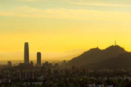 Panoramic view of Santiago de Chile Stock Photo
