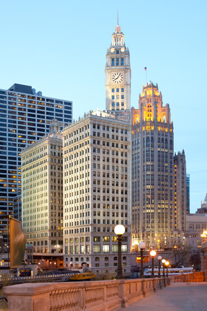 Skyline of buildings at downtown Chicago, Illinois, USA Editorial