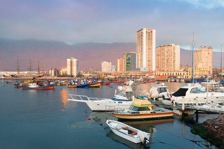 Skyline of downtown and marina of Iquique from the port, Chile Stok Fotoğraf