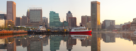Downtown city skyline and Inner Harbor at dawn, Baltimore, Maryland, USA