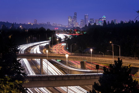 Interstate 5 and downtown skyline at night, Seattle, Washington State, USA