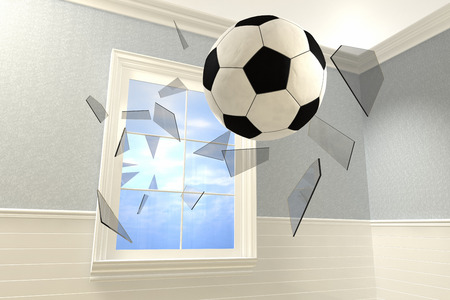 3D rendering of a soccer ball coming into a room breaking a window