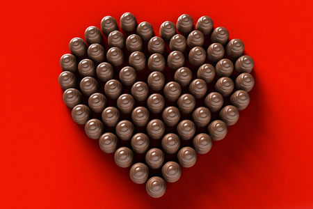 3D rendering of a conceptual image of chocolates arranged in a heart shape
