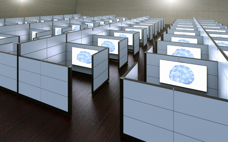 3D rendering of a conceptual images of office cubicles where workers where replaced by artificial intelligence. 免版税图像