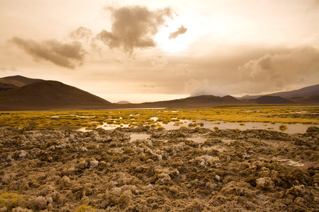 Salt crust at the shore of Lagoon and salt lake Tuyajto at an altitude of 4300m, Altiplano (high Andean Plateau), Los Flamencos National Reserve, Atacama desert, Antofagasta Region, Chile
