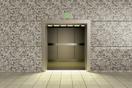 3D rendering of an empty elevator going up 스톡 콘텐츠