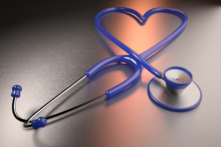 3D rendering of a heart health concept represented with a heart shaped stethoscope