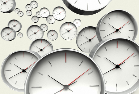 3D rendering of the time concept with many clocks approaching the camera Banque d'images - 119145448