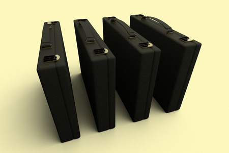 3D rendering of a group of 4 identical briefcases