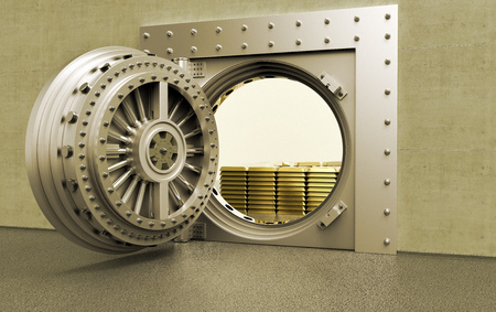 3D rednering of a bank Vault with gold bars inside