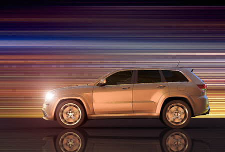 3D rendering of a motion panning of an SUV Stok Fotoğraf