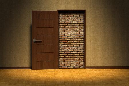 3D rendering of a doorway blocked by a brick wall 版權商用圖片