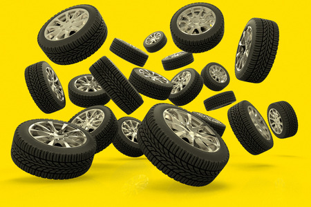 3D rendering of a large group of tires against a yellow background Stok Fotoğraf