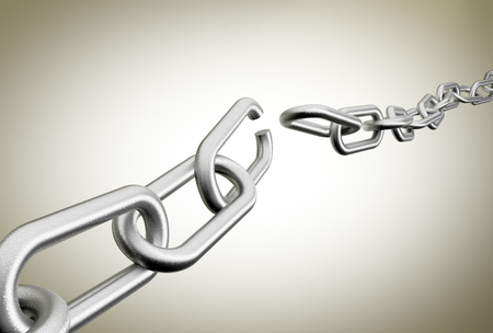 3D rendering of broken chains against a plain background Stock Photo