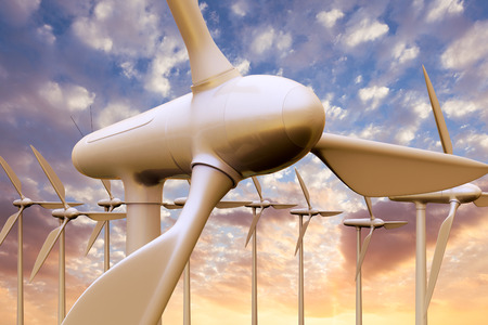 3D rendering of a wind farm at sunset