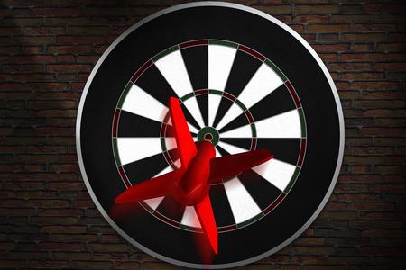 3D rendering of a dart flying straight to bullseye