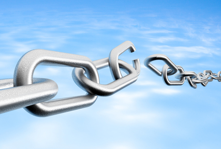 3D rendering of broken chain against a blue sky