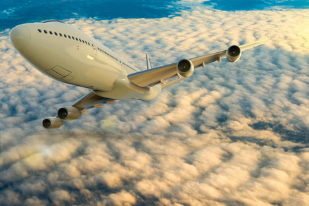 3D rendering of a commercial airplane on flight over the clouds