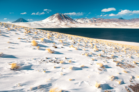 Laguna Miscanti (Miscanti Lagoon) and Cerro Miscanti (Miscanti hill) in the Altiplano (High Andean Plateau) at an altitude of 4350m, Los Flamencos National Reserve, Atacama desert, Antofagasta Region, Chile, South America