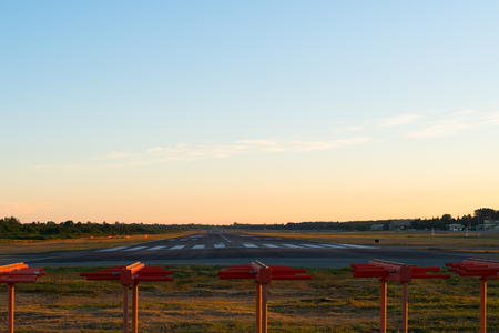 Empty airport runway at the airport of Puerto Montt, Chile