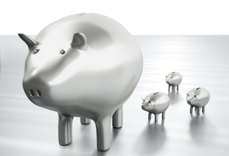 3D rendering of big and little piggy banks