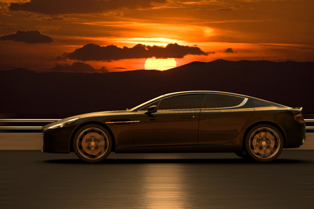 3D rendering of a sport car at high speed at the sunset. 写真素材