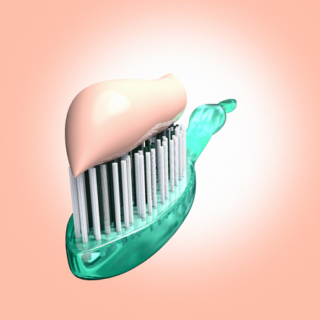 3D rendering of a close up of a toothbrush with toothpaste Banco de Imagens - 122141311