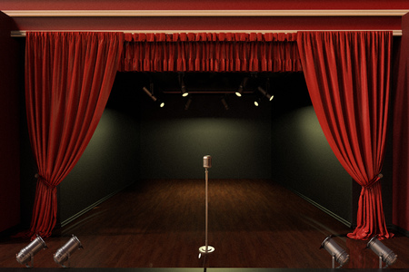 3D rendering of an empty stage with vintage microphone