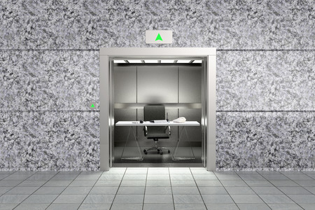 3D rendering of a conceptual image representing proffessional sucess with an office inside an elevator going up