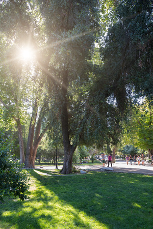 ¬Santiago, Region Metropolitana, Chile - December 11, 2018: People walking in the Forestal Park, the most traditional urban park in the city. Stock Photo