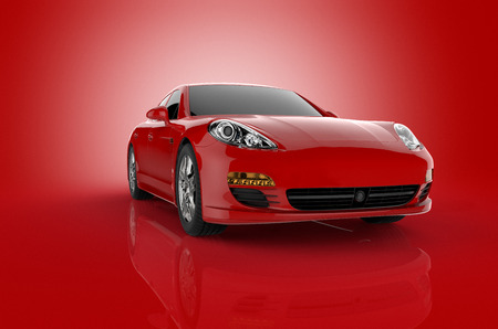 3D rendering of a red sports car on a red background