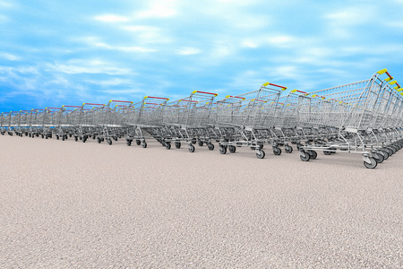 3D rendering of many grocery carts representing the concept of  shopping