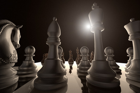 3D rendering of a low angle view of a chess game ready to begin Stock Photo
