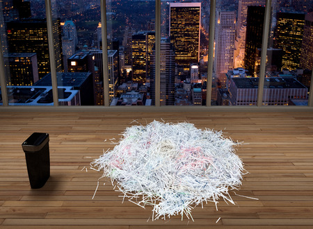 3D rendering of shredded documents in an empty office in New York City