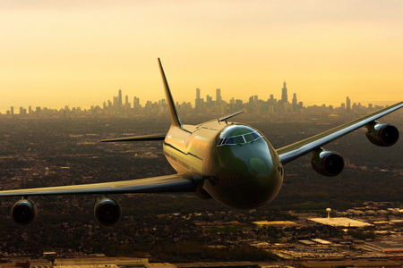 3D rendering of a commercial airplena departing from Chicago, USA