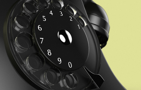 3D rendering of a close up of the dial of an old vintage black phone Stock Photo
