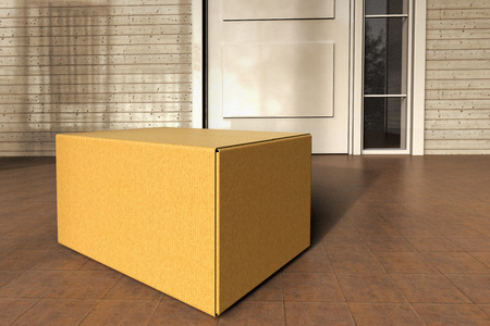 3D rendering of a box from an online purchase delivered to the front door.