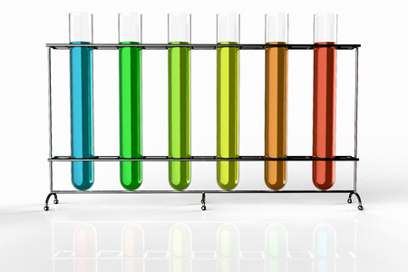 3D rendering of test tubes filled with liquids of different colors