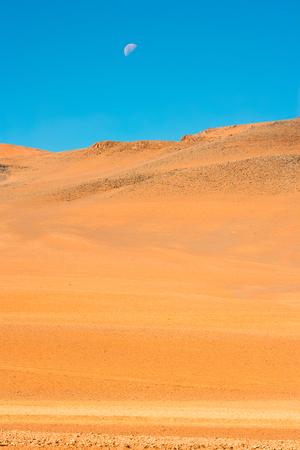 Moon over the Altiplano (high Andean plateau), Atacama desert, Chile, South America Stock Photo