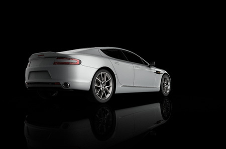 3D rendering of a sport car on a black background 스톡 콘텐츠