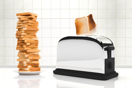 3D rendering of bread coming out from a toaster next to a tower of toasted bread