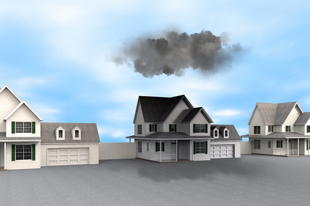 3D rendering of a conceptual representation of bad luck with dark clouds over house