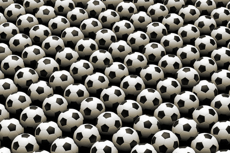 3D rendering of a large group of soccer ball from above
